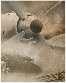 Plakát Retro letectví, vintage pozadí