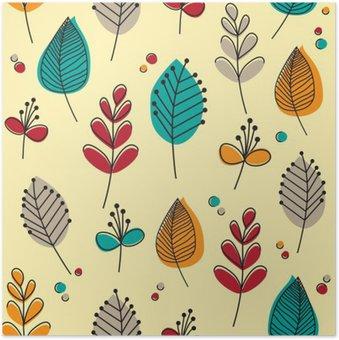 Plakát Retro listy a květy