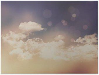 Plakát Retro mraky a obloha pozadí