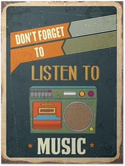 """Plakát Retro plechová cedule """"poslouchat hudbu"""""""