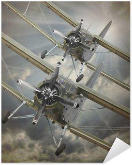 Plakát Retro styl obraz z dvojplošníků. Doprava téma.