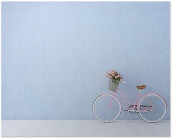 Plakát Retro vintage kolo staré a modrá zeď. 3d rendering