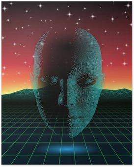 Plakát Retro vlna lesklý hlava silueta nad krajinou neonové