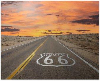 Plakát Route 66 Pavement Sign slunce Mohavské poušti