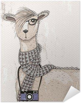 Plakát Roztomilý bederní lama s fotoaparátem, brýle a šátek