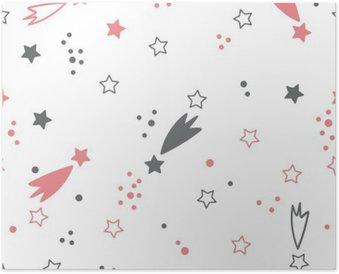 Plakát Roztomilý bezproblémové vzorek s hvězdami. Místo na pozadí
