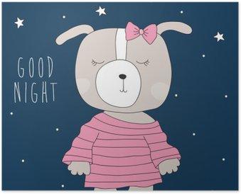 Plakát Roztomilý pes na sobě pyžamo ilustrace
