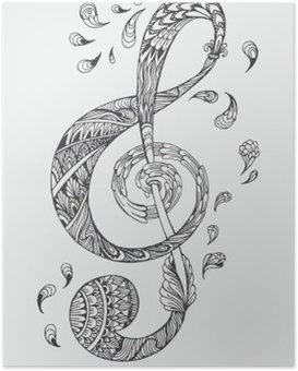 Plakát Ručně kreslená hudební klíč s etnické ornamenty doodle vzorem. Vektorové ilustrace Henna Zentangle stylizované pro Obal knihy nebo karty, tetování více. Design pro duchovní relaxaci pro dospělé.