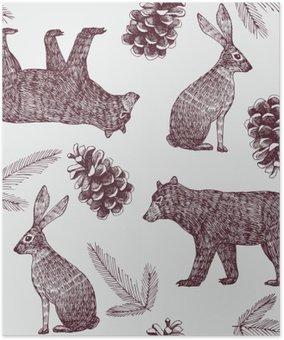 Plakát Ručně kreslenými zimní trendy seamless background