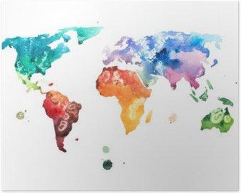 Plakát Ručně malovaná akvarel akvarel světa mapa ilustrace.