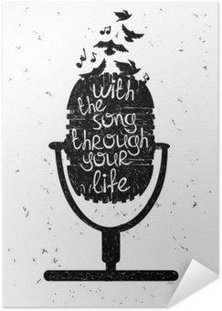 Plakát Ručně malovaná hudební ilustrace s silueta mikrofonu.