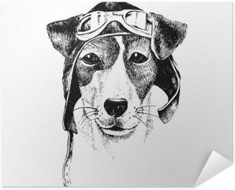 Plakát Ručně malovaná oblečený pes letec