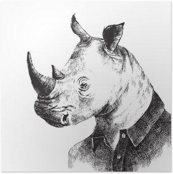 Plakát Ručně malovaná oblečený Rhino bederní stylu