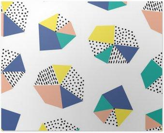 Plakát Ručně tažené bezproblémové vzorek s tahy štětcem a geometrického útvaru.