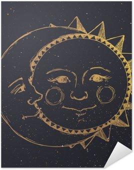 Plakát Ručně tažené slunce s měsícem