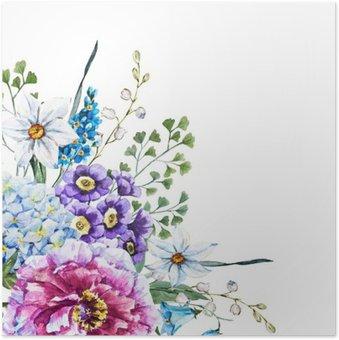 Plakát Ruční tažené akvarel květiny