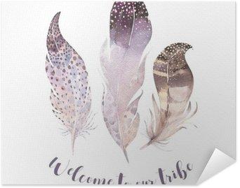 Plakát Ruční tažené akvarely zářivé peří set. Boho styl