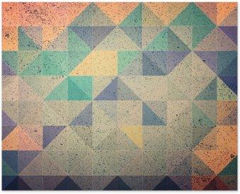 Plakát Růžová a fialová trojúhelník abstraktní pozadí obrázku
