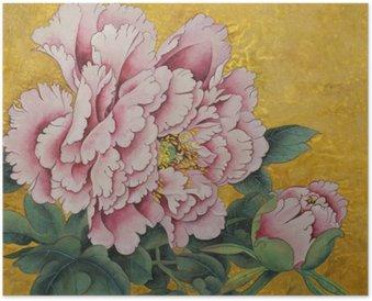 Plakát Růžová pivoňka květ na zlatém pozadí