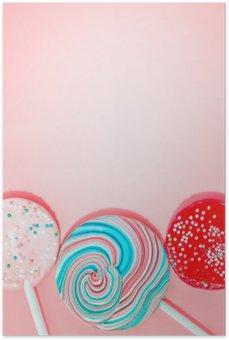 Plakát Růžová Pozadí s barevnými Candy