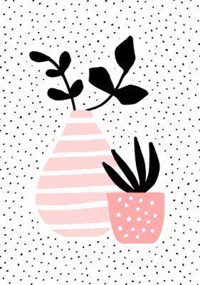 Plakát Růžová Váza a Pot s rostlinami