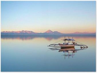 Plakát Rybářský člun na filipínském oceánu na krásný západ slunce den.