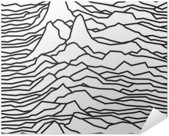 Plakát Rytmus vln, pulsar, vektorových linií designu, čárkovaně, hory