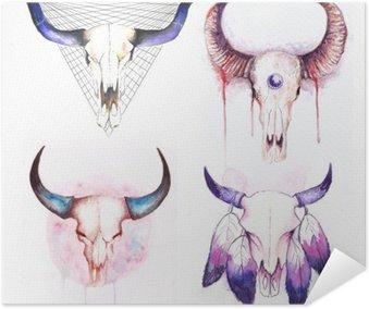 Plakát Sada krav lebky s rohy