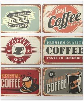 Plakát Sada vintage coffee plechových cedulí