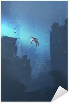 Plakat Samoprzylepny Astronautą unoszące się w opuszczonym mieście, tajemnicza przestrzeń, ilustracja malarstwo