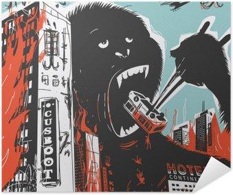Plakat Samoprzylepny Big Gorilla niszczy miasto