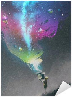 Plakat Samoprzylepny Dziecko otwierając pole fantazji kolorowe światła i fantastyczne miejsca, ilustracji malarstwa
