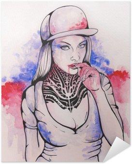 Plakat Samoprzylepny Dziewczyna w czapce i tatuaże