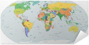 Plakat Samoprzylepny Globalnej mapie politycznej świata, wektor