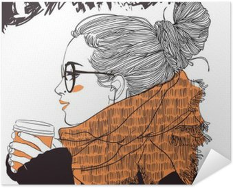 Plakat Samoprzylepny Młoda piękna kobieta z filiżanką kawy