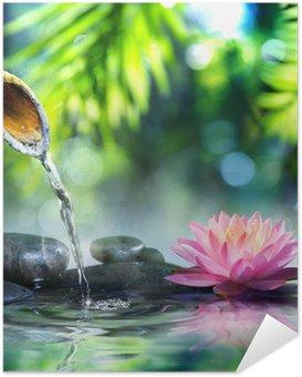 Plakat Samoprzylepny Ogród zen z czarnych kamieni i różowym lilii wodnej