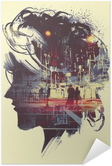 Plakat Samoprzylepny painting of double exposure concept with lady portrait silhouette and couple walking in night city