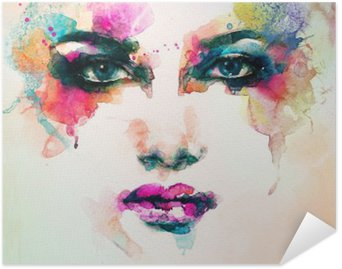 Plakat Samoprzylepny Portret kobiety .abstract tle akwarela .fashion