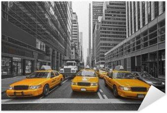 Plakat Samoprzylepny Tyellow taksówki w Nowym Jorku, USA.