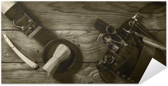Plakat Samoprzylepny Vintage zestaw Barbershop.Toning sepii