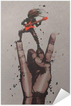 Plakat Samoprzylepny Wielka ręka w rock n roll podpisać z gitarzystą, ilustracja malarstwo