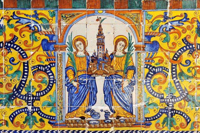 Plakát Santas Justa y Rufina, patronas de Sevilla, azulejo - Pozadí
