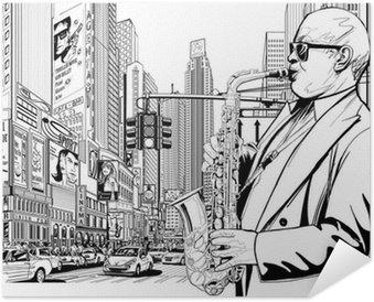 Plakát Saxofonista v ulici New Yorku