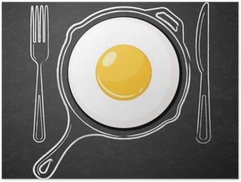 Plakát Sázené vejce a ručně malovaná obrys akvarel pánev, vidličkou a nožem