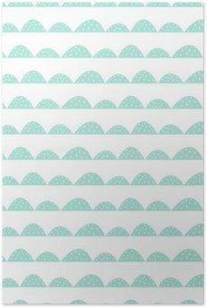 Plakát Scandinavian bezešvé máta vzor ve stylu ručně kreslenou. Stylizované kopec řádky. Mávat jednoduchý vzor pro tkaniny, textilie a dětského prádla.