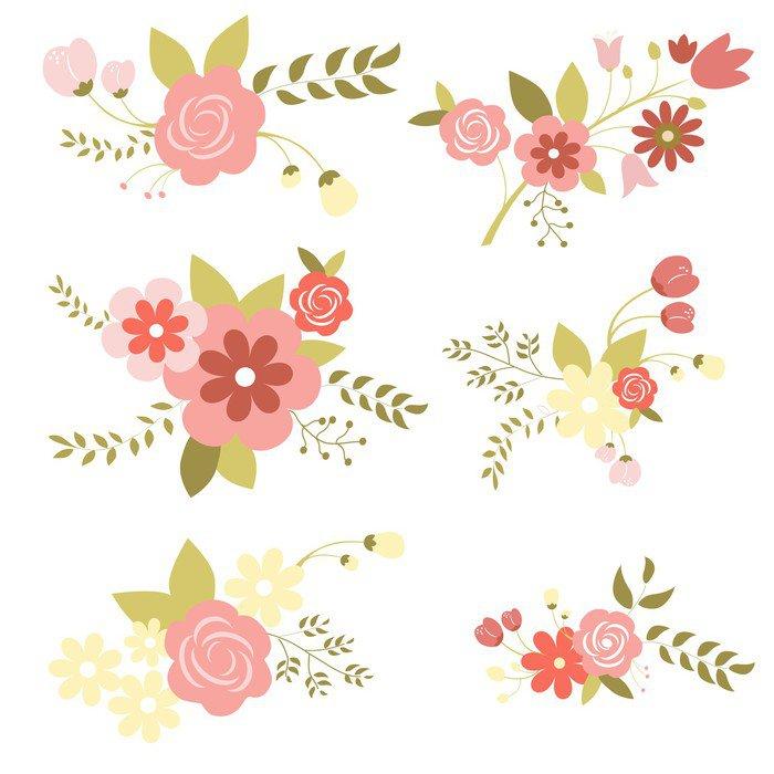 Plakát Set_of_flowers - Pozadí