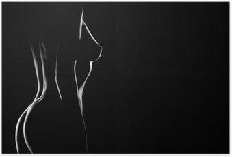 Plakát Sexy tělo nahá žena prsa. Naked smyslné
