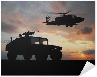 Plakát Silueta vozu přes západu slunce s vrtulníkem.