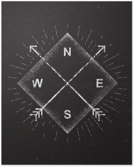 Plakát Šipky, kompas, grunge design, vektorové ilustrace