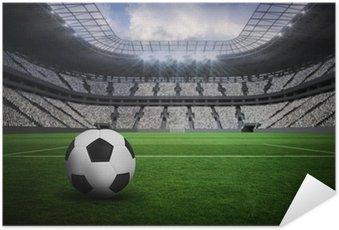 Plakát Složený obraz z černé a bílé kožené fotbal